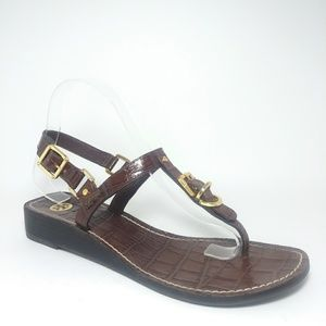 Tory Burch T-Strap Wedge Sandals Size 8.5M